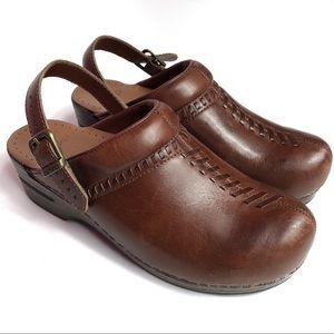 Dansko Brown Clogs Sling Back Strap Leather Upper